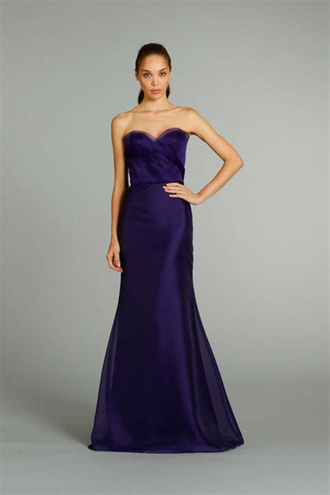 fit mermaid strapless long purple organza
