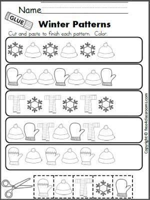 Winter Pattern Activities | free winter patterns cut and paste worksheet teacher
