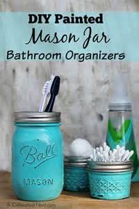 diy painted mason jar bathroom organizer