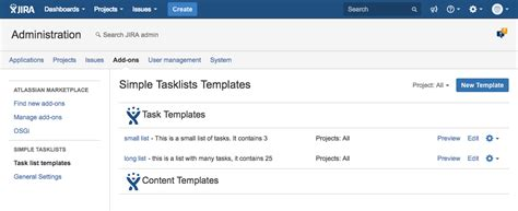 Simple Tasklists For Jira Documentation Jira Project Management Template