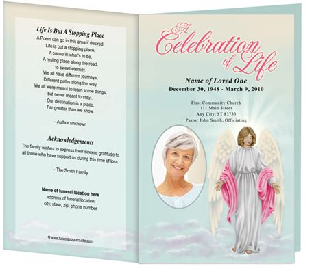 free printable funeral program template 6 best images of free printable funeral memorial card