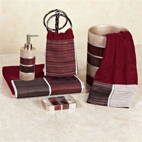 modern line burgundy bath towel set