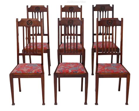 Dining Chairs Set Of 6 Set Of 6 Mahogany Dining Chairs Nouveau C1915 Antiques Atlas