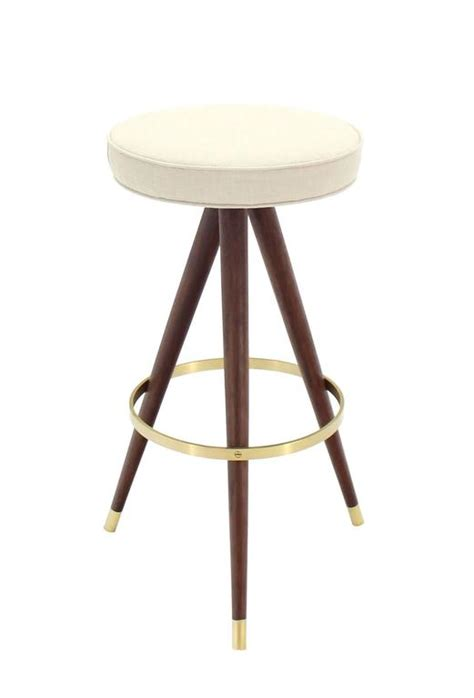 solid walnut bar stools set of four mid century walnut and solid brass tri