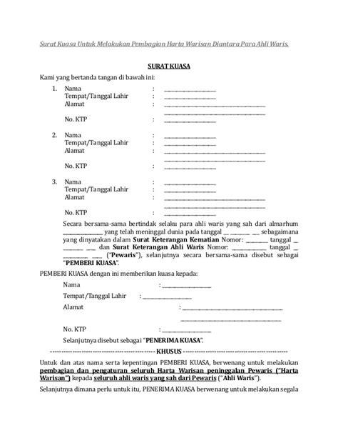 contoh surat kuasa harta warisan wisata dan info sumbar