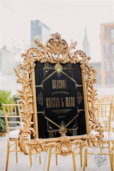 Gatsby Wedding Banner by Gatsby Wedding Welcome Sign Printable Welcome Sign