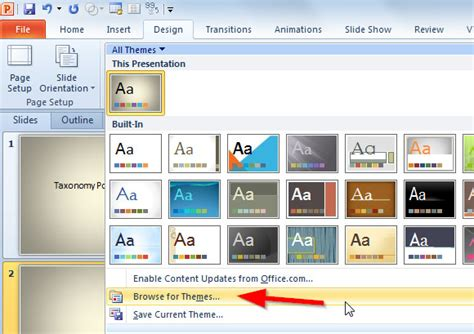 applying themes in powerpoint 2010 how to apply fppt com design templates to your presentation