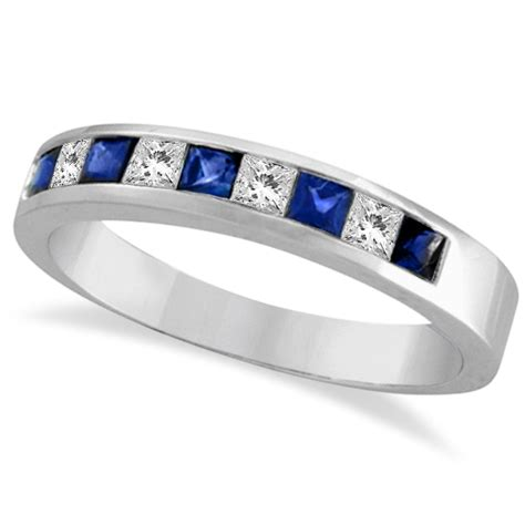 princess cut channel set diamond sapphire ring band