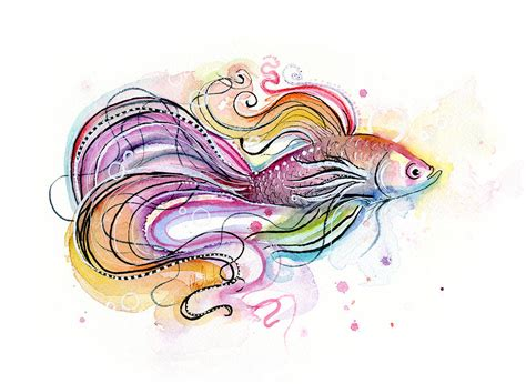 watercolor tattoo fish watercolor fish paintings betta fish watercolor painting
