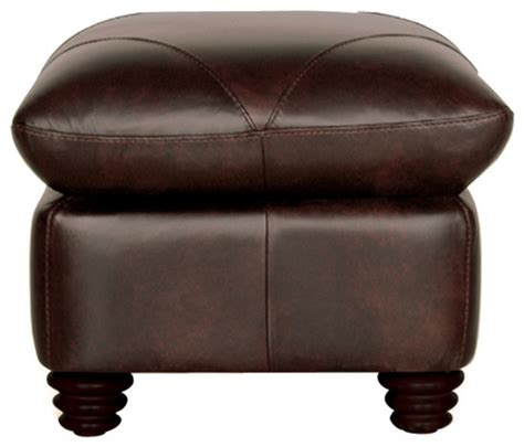 Chocolate Brown Ottoman Genuine Italian Leather Ottoman In Chocolate Brown Traditional Footstools And Ottomans By