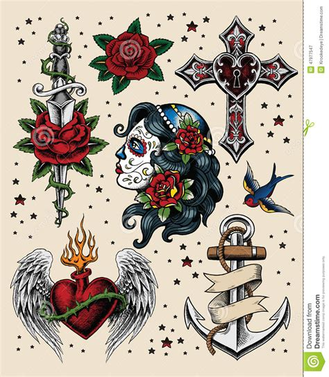 tattoo set set of cross and wings vector vector