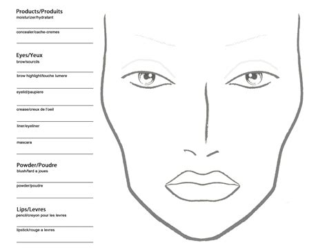 Makeup Charts Template becoming a makeup artist free blank mac makeup chart