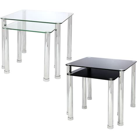 glass end tables for living room nest of 2 glass chrome tables home lounge living room set