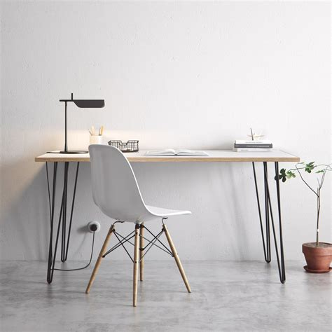 white x leg desk the hairpin leg co desk dining tables