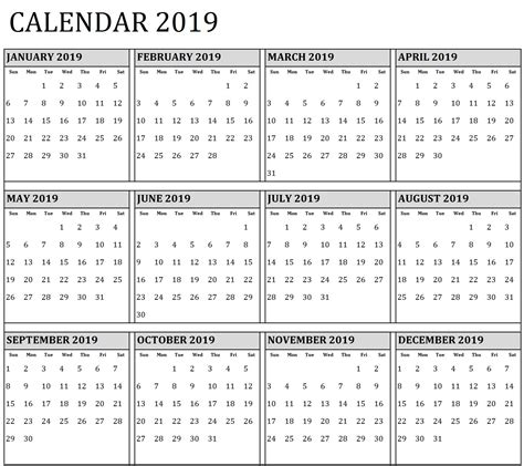 free year calendar 2018 printable one page unique calendar