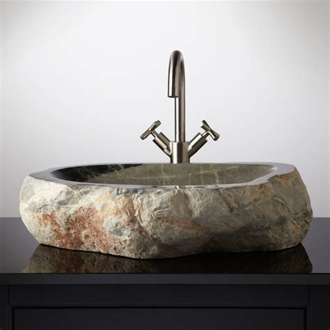 make your own vessel sink pin by signature hardware on unique stone vessel sinks
