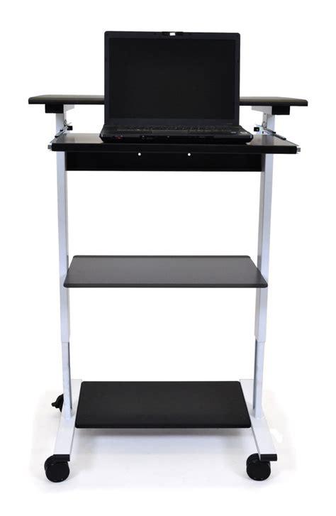 three shelf adjustable stand up workstation