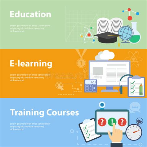 online tutorial lectures flat vector concepts for education stock vector image