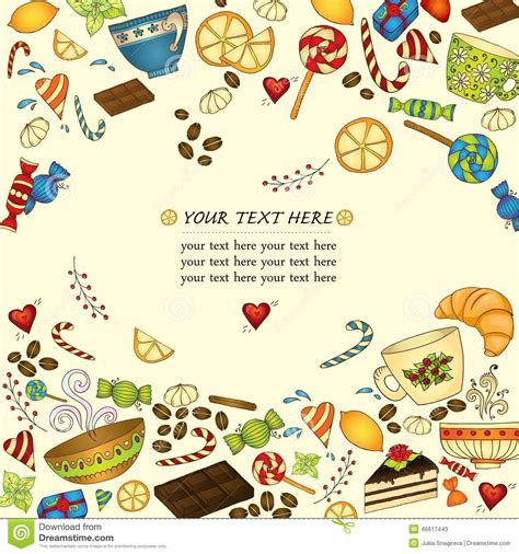 tea card template customize tea coffee and doodle template pattern stock