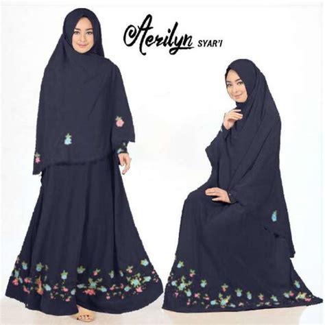 Lucia Syari Bordir Hitam gamis polos aerlyn syar i crepe bordir baju muslim cantik