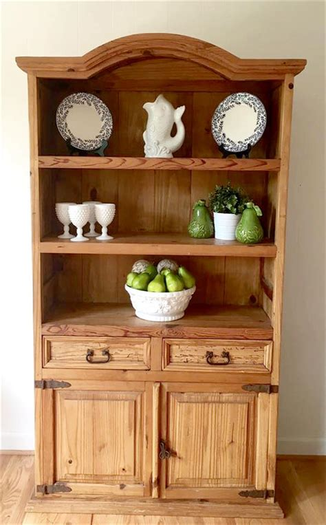 diy recycled pine wood kitchen hutch diy and crafts