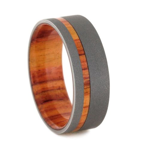 sandblasted titanium tulipwood ring with sandblasted titanium or womens ring
