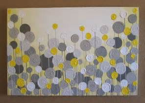 grey and yellow mustard yellow and grey wall art 18x24 textured painting abstract flowers acrylic painting on