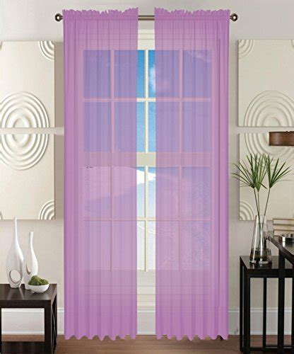 40 inch length curtains elegant comfort 174 2 piece solid sheer panel curtain with