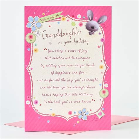 Birthday Card For Granddaughter Birthday Card Granddaughter Poem Only 99p
