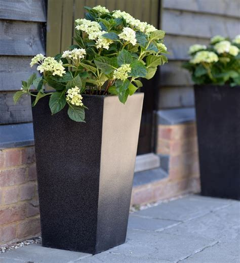 Garden Planters Uk by Tapered Garden Planters Black Modern Fibreglass Outdoor