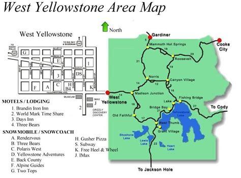yellowstone lodging map area map of west yellowstone