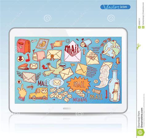 doodle 4 mailing address e mail doodle set vector illustration stock vector