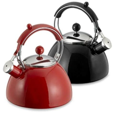 bed bath and beyond kettle copco journey 2 5 quart tea kettle in red