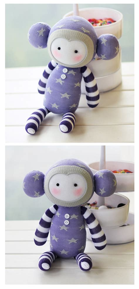 diy handmade monkey sock doll kit with detailed color