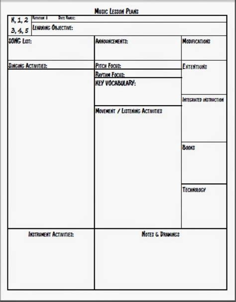 lesson plan template elementary melodysoup lesson plan template