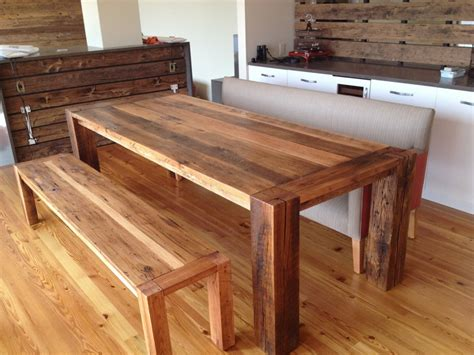 reclaimed wood dining table and bench dining room designs stunning open kitchen design ideas