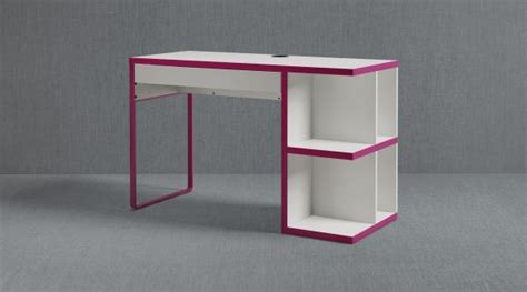 micke desk with integrated storage white pink