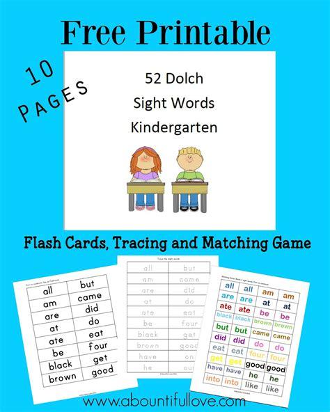 printable kindergarten sight words a bountiful love 52 dolch sight words for kindergarten