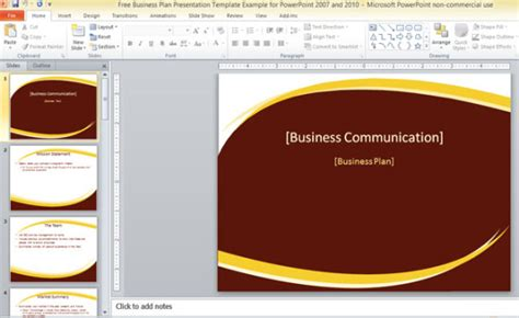 Free Business Plan Presentation Template For Powerpoint 2007 And 2010 How To Create Ppt Template 2007