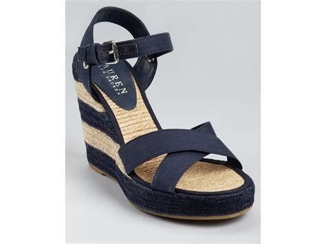 Erotokritos Blue And White Stripe Wedge by Lyst By Ralph Salem Striped Wedges In Blue