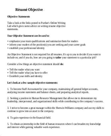 resume objective statement sles accounting 7 sle general objectives for resume sle templates