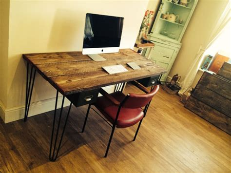 scaffolding board desk with hairpin legs with vintage steel