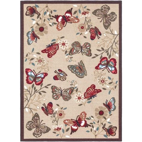 8 x 9 area rugs ottomanson contemporary butterflies design beige 8 ft 2 in x 9 ft 10 in non skid area rug