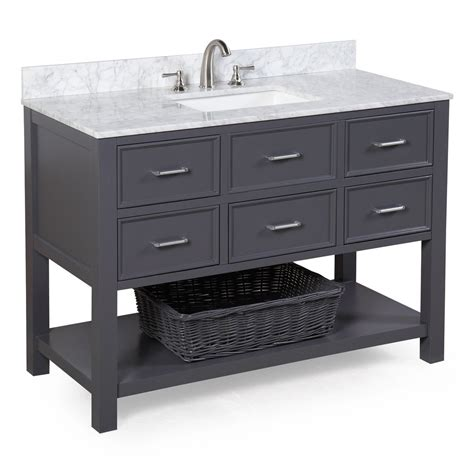 Bathroom Vanities Nh New Hshire 48 Inch Vanity Carrara Charcoal Gray Kitchenbathcollection