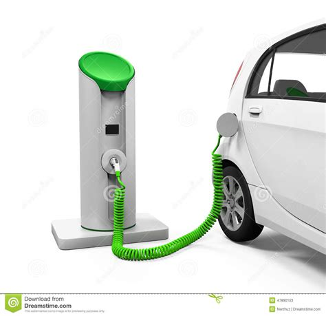electric cars charging electric car in charging station stock illustration