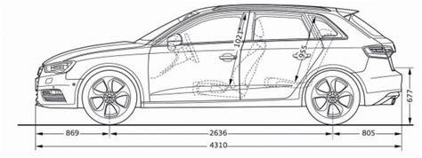 Audi A3 Sportback Abmessungen by Audi A3 Sportback 8v Abmessungen Technische Daten