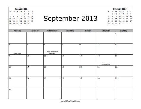 Calendar September 2013 September 2013 Calendar Free Printable
