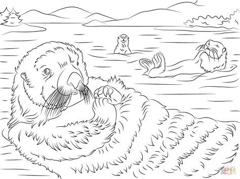 cute sea otters coloring page free printable coloring pages