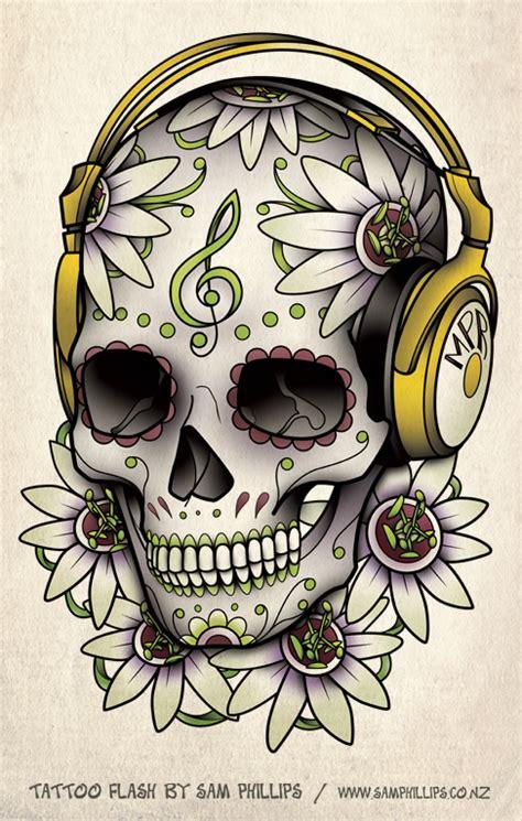 tattoo flash by sam phillips skull headphones tattoo by sam phillips nz on deviantart