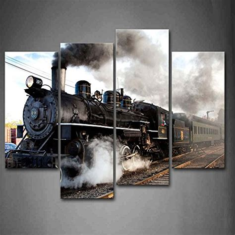 home interiors and gifts framed art framed car train gray smoke steam canvas art prints